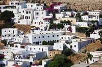 High angle view of buildings in a town, Lindos, Rhodes, Dodecanese Islands, Greece