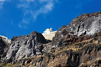Low angle view of a church on a mountain, Naxos, Cyclades Islands, Greece