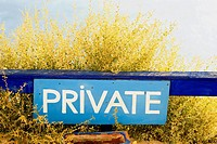 Close-up of a Private signboard, Greece