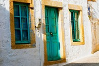 Closed door of a house, Patmos, Dodecanese Islands, Greece