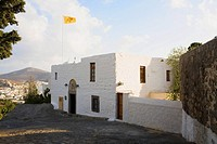 Flag on a monastery, Monastery of the Apocalypse, Patmos, Dodecanese Islands, Greece