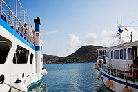 Yachts moored at a harbor, Skala, Patmos, Dodecanese Islands, Greece