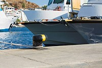 Yacht moored at a harbor, Patmos, Dodecanese Islands, Greece