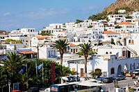 High angle view of buildings in a city, Skala, Patmos, Dodecanese Islands, Greece