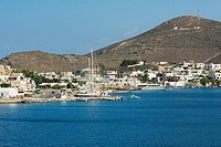 Boats moored at a harbor, Skala, Patmos, Dodecanese Islands, Greece