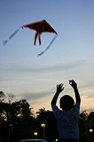 Rear view of a boy flying a kite, Phnom Penh, Cambodia