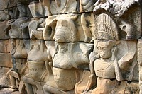 Close-up of sculptures carved on the wall of a temple, Angkor Wat, Siem Reap, Cambodia