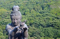 High angle view of a Buddhist statue, Tian Tan Buddha, Po Lin Monastery, Ngong Ping, Lantau, Hong Kong, China
