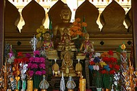 Statues of Buddha in a temple, Buddhist temple, That Luang, Vientiane, Laos