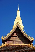 Low angle view of a temple, Buddhist temple, That Luang, Vientiane, Laos