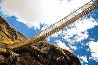 Low angle view of a rope bridge across a mountain, Queswachaca, Peru