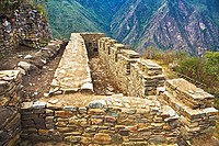 Old ruins on a mountain, Choquequirao, Inca, Cusco Region, Peru