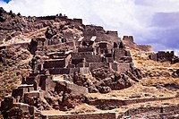 Low angle view of ruins on a mountain, Pisaq, Urubamba Valley, Peru (thumbnail)