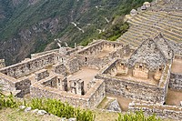 High angle view of ruins on mountains, Machu Picchu, Cusco Region, Peru
