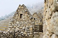 Old ruins of stone structures, Machu Picchu, Cusco Region, Peru