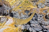 High angle view of a rope bridge across a mountain, Queswachaca, Peru