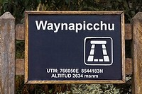 Close-up of a signboard, Aguas Calientes, Mt Huayna Picchu, Machu Picchu, Cusco Region, Peru