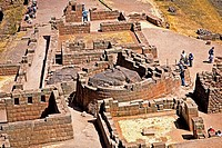 High angle view of the old ruins, Pisaq, Cusco Region, Peru