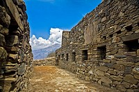 Stone walls of the old ruins, Choquequirao, Inca, Cusco Region, Peru