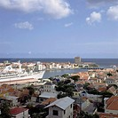 Netherlands Antilles- Curacao: View over Willemstad with St  Annabaai  Cruise ship
