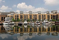 Harbor and apartment block at the Docklands London