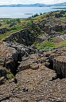 Enormous cracks in the rocks, surrounding the Pingvellir plains, Iceland