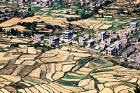 Aerial view of houses surrounded by fields, Pingtan Island, Pingtan County, Fujian Province, People´s Republic of China
