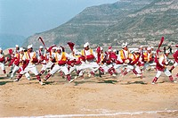 Luochuan Biegu Drum Show in Front of Huanghe River Hukou Waterfall, Yichuan County, Yan'an City, Shanxi Province, People's Republic of China, FOR EDIT...