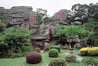 Carved stone in New Yuanming garden, Zhuhai City, Guangdong Province of People´s Republic of China