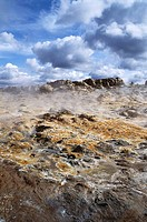Fumarole field near East of Lake Myvatn, Mount Namafjall. Hverarond, North Iceland