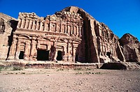 Nabataean royal stone tombs carved into the rock, Petra. Jordan