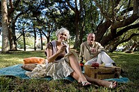Mature couple having a picnic enjoying wine