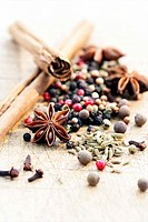 Star anise, peppercorns, cinnamon, cloves, fennel, coriander seeds differential focus