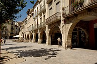 Main Square, Banyoles. Girona province, Catalonia, Spain