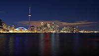 Canada, Toronto, cityscape with CN Tower at night
