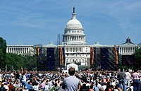 USA, Washington DC, Capitol Building and crowd of people