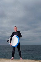 Male surfer in wetsuit with surfboard by beach, portrait