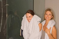 Two women with towels