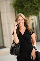 Happy woman on cell phone