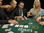 People playing poker game