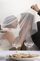 Bride and groom kissing under veil (thumbnail)