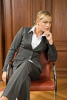 Businesswoman staring at camera