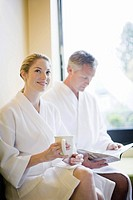 Couple wearing bathrobes (thumbnail)