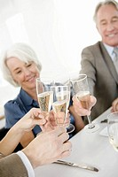 Couples toasting with champagne