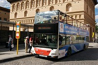 Turistic bus. El Pilar square. Zaragoza, Aragon. Spain.