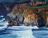 Late afternoon breaking waves on the Big Sur on the California Coast