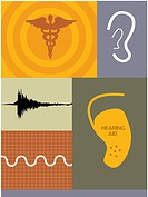 Illustrations of soundwaves, a hearing aid and caduceus symbol