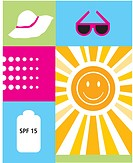 Sunscreen, hat and sunglasses are some of the accessories to help fight sunburn