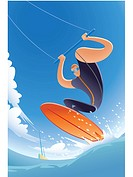 A kite surfer in action (thumbnail)