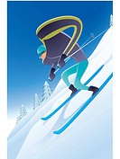 Illustration of a skiier